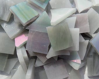Stained Glass Mosaic Tiles - Iridescent Gray  - 1/2 Pound - 5-15 mm Various Shapes