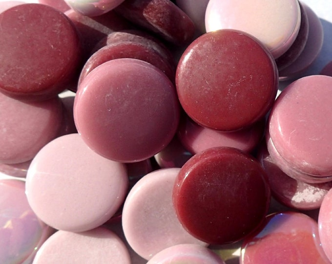 Pink Mix Large Glass Drops Mosaic Tiles - 100 grams Vase Fillers - 20mm Flat Marbles Mix of Gloss and Iridescent Glass Gems