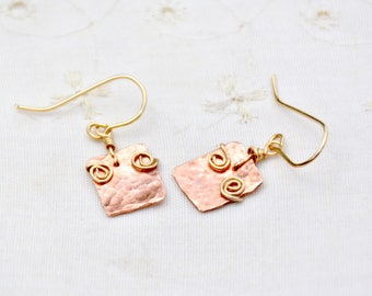 Rose Gold Copper Earrings Mixed Metals Copper Gold Filled Earrings Hammered Earrings Small Rectangles Copper Jewelry Free Shipping Israel