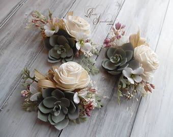 Rustic Sola Flower & Artificial Succulent Wedding Corsage. Can be worn as a wrist corsage or pin on.