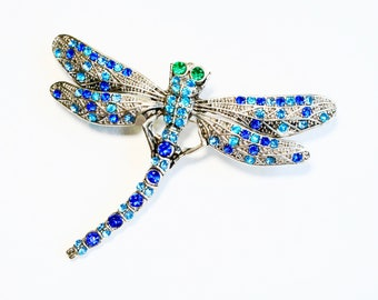 Rhinestone Crystal Dragonfly Brooch Pin Art Deco Style Jewelry SUPERB