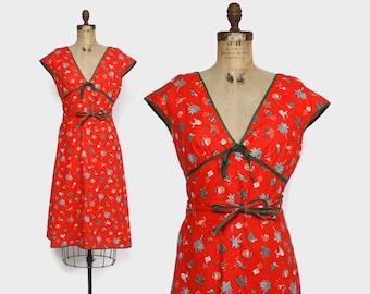 Vintage 50s NOVELTY Print DRESS / 1950s Red Palm Trees Poodles & Masks Wrap Dress