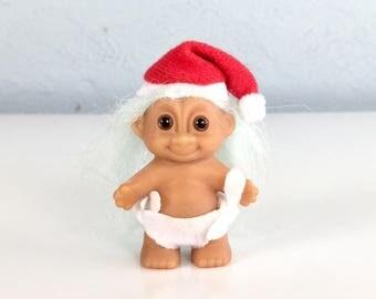 Christmas Troll Doll with Santa Hat and Diaper with Cotton Candy Blue Hair, 1980s Collectible Tiny Troll Toy, Small Troll Doll Figurine