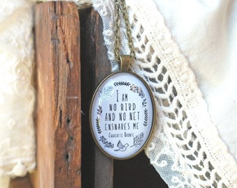SUMMER SALE Jane Eyre Quote - Literary Gift - I Am No Bird - Charlotte Bronte - Writer Gift - Book Jewelry - Quote Necklace - Book Lover Gif