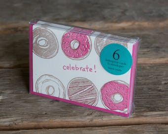 Celebrate Donut card 6 pack, letterpress printed greeting card
