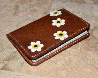Passport Case, Leather Passport Holder, Passport Cover, Pink Passport Case, Passport Holder with Leather Daisies, Brown Leather Cases