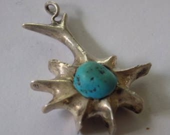 Vintage abstract southern sterling silver pendant with raw turquoise inlay, unique jewelry