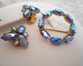 Vintage brooch and earrings set, AB brooch and earrings, blue circle brooch and blue earrings, clip on earrings