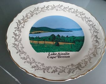 Souvenir Plate, Lake Ainslie, Cape Breton, Vintage Plate, Decorative, Travel Souvenir, 22 K Gold Trim, Illustration, Canada