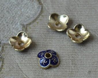 6 pcs of Enamel Golden metal flower bead cups,beadcap findings,beads,findings beads