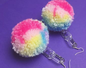 Pastel Rainbow Pom Pom Earrings