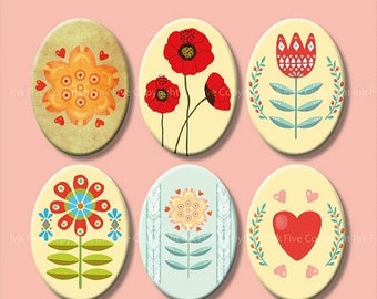 Scandinavian Flowers Digital collage sheet 18x25 mm ovals. Printable images for cabochons, cameos, pendants. Nordic instant digital download
