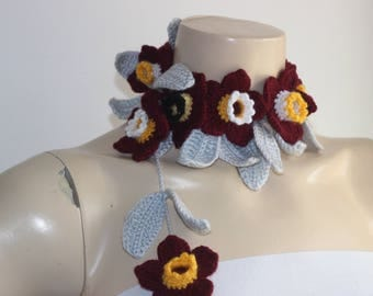 Daffodil Scarf- Flower Lariat Scarf- Jewelry Scarf-Burgundy,Yellow,White Daffodil/Jonquil/Narcissus Scarf-christmas gift
