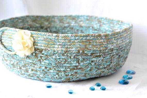 Turquoise Gift Basket, Handmade Cat Bed Furniture, Lovely Fiber Basket, Book Bin Holder, Storage Basket, Dog Bed, Knitting Project Bag