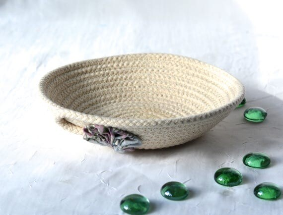 Rustic Lavender Bowl, Handmade Gift Basket, Bowl, Lovely Ring Tray,  hand coiled natural rope basket