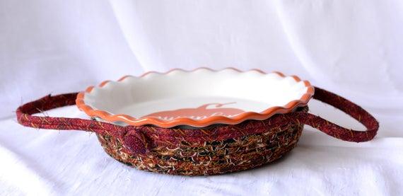 Thanksgiving Pie Plate Basket, Pie Cozy, Handmade Pie Carrier, Dessert Caddy, Modern Bread Basket, Holiday Party Decoration