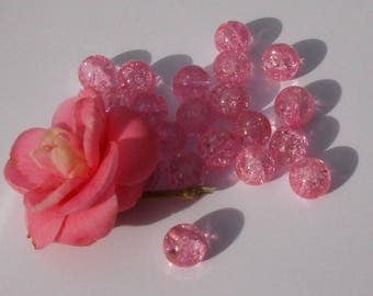 160 pink set 20 crackled glass beads 10 mm
