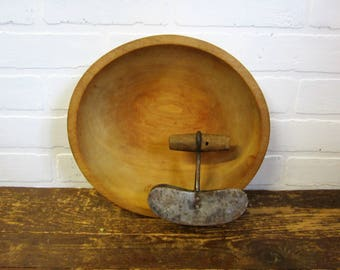 Vintage 11 inch Out of Round Wooden Dough Bowl and Primitive Double Chopper Farmhouse Decor