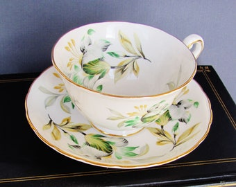 Tea Cup And Saucer Set Royal Chelsea English Bone China Green And Gold Floral Design 4439A