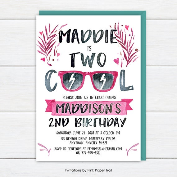 Two cool birthday invitation two cool birthday party invite 2nd il570xn filmwisefo Choice Image