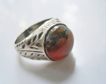 Vintage Yemeni Man Ring, Sterling Silver and Agate Ring, Gift for Him, Ethnic Jewelry, Size 12