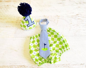 Baby Boy Golf Themed Cake Smash Outfit with Birthday Hat, Diaper Cover, and Tie