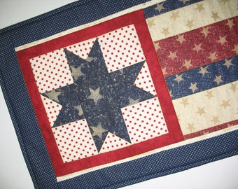 July 4th Wall Hanging or Table Runner, handmade quilt - Patriotic Year Round Independence Day Stars and Stripes