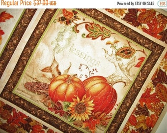 Sale Christmas in July Fall Table Runner, Thanksgiving, handmade, quilted, fall leaves, pumpkins, birds, horn a plenty, Wall hanging