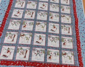 Sale Christmas in July Christmas Snowman Flannel lap quilt 54 x 68
