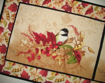 Autumn Table Runner Birds, Fall, Berries and Leaves, handmade, quilted