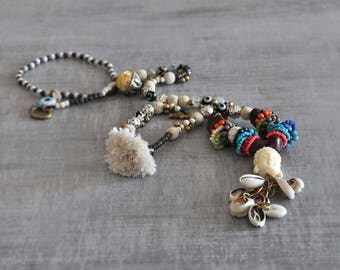 Boho Style Necklace,  Bohemian Buddha Necklace, Gypsy Long Necklace, Hippie Beaded Necklace,  Tribal Beige Necklace,  Free Shipping