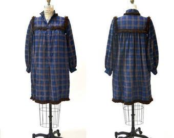 SALE 70s Vintage Saint Laurent Vintage Boho Peasant Dress size Small// Vintage YSL Plaid Bohemian Peasant Dress blue and Brown Small Medium