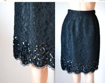 SALE Vintage Black Lace Skirt with Sequins size Small // Balck Sequin Skirt Size Small by Lillie Rubin
