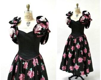 SALE Vintage Black Party Dress  80s Floral Print Dress Medium Large Victor Costa// 80s 90s Vintage Prom Party Dress Black Crinoline Floral P