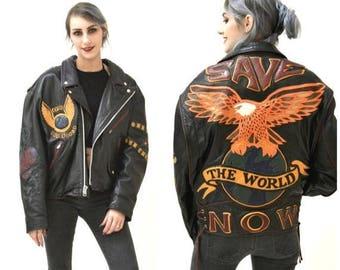 SALE Vintage Black Leather Motorcycle Jacket Eagle Bird Large XL// Vintage Black Leather Biker Jacket Jeff Hamilton Save The World Eagle