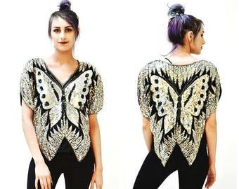 SALE Vintage Sequin Shirt Size Medium Black and Silver Butterfly// Vintage Metallic Sequin Shirt Silk Top In Black and Silver Small Medium