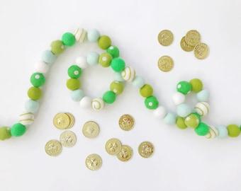 Lucky Felt Ball Garland, Banner, Bunting - 50 felt balls  - St. Patrick's Day - READY TO SHIP!