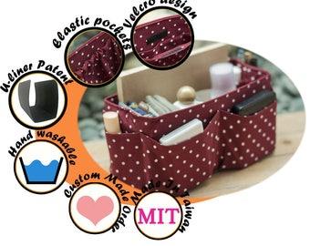Beauty Purse ORGANIZER insert / Bag Organizer / Extra Sturdy / Burgundy White Dots / Medium 22x8cm