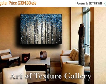 SALE Huge 40 x 50 Custom Oil Impasto Painting Original Texture Modern Tree Birch Blue Silver Gray White Sculpture Knife Painting by Je Hlobi