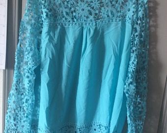Long lace crochet top blouse tunic sheer long sleeves
