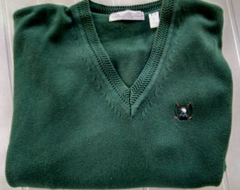 Mens Vintage Sweater, Men's XXL John Ashford Golf V-neck Sweater, Mens Green Sweater, 100% All Cotton Knit Mens Sweater