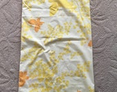 Vintage 70's Montgomery Wards Yellow and Orange Butterflies King Size Pillowcase- bedding, butterfly pillowcase, vintage yellow pillowcase
