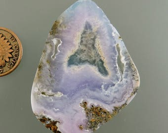 Smithsonite Cabochon, Translucent Smithsonite Cab, Pink and Blue Smithsonite Cab, Pendant Cab, Gift Cab, C2466, Handcrafted by 49erMinerals