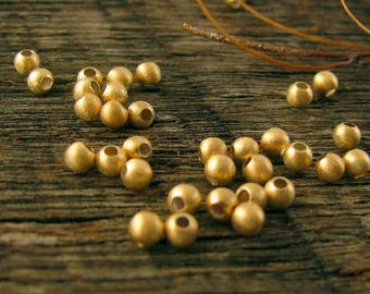 Gold  Vermeil Beads 3mm Round - 20 Small Gold Seed Beads - Brushed Satin Finish Vermeil Beads - MB235b