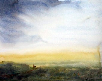 Morning Cornfield-Original watercolor painting on paper,landscape,painting,watercolor,Original painting