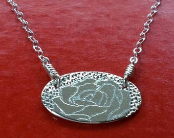 SALE English Rose Sterling Silver  Necklace Handmade