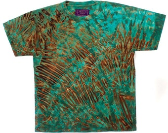 M Shibori Men's Tie Dye T Shirt Black Greens 2 Tie Dye Medium