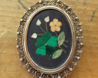Vintage Italian Pietra Dura Inlaid Mosaic Stone Brooch Pendant Combination Signed 800 Sterling Chain Necklace