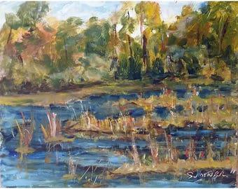 Original acrylic landscape painting Sunlit Trees marsh grasses 8x10