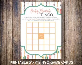 Tribal Baby Shower Bingo, Watercolor Arrow Bingo Cards, Baby Shower Bingo, Baby Shower Game, Green, Coral, Digital Download, 810